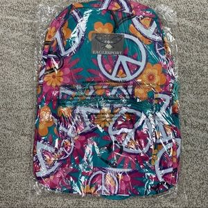 NWT Moda West Floral Peace Backpack Pink